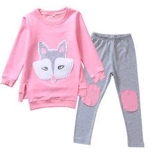 2020 детская одежда для маленьких девочек, спортивный костюм, комплекты, детская одежда, розовый спортивный костюм с длинными рукавами и рису...(Китай)