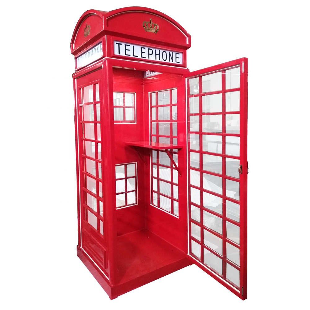 Red Mental Antique British Mobile Phone Booth for sale