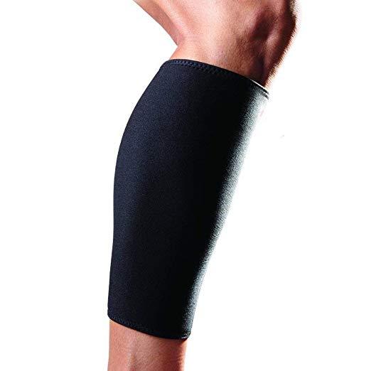 Neoprene Stretchy Calf Skin Compression Shin Sleeve for Basketball Running Cycling Baseball, Black or customized