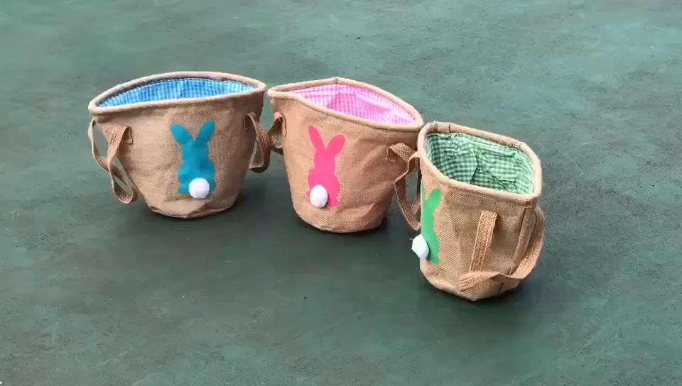 Halloween Hot Bunny Ear Felt Storage Small Buckets Decorative Hanging Easter Basket