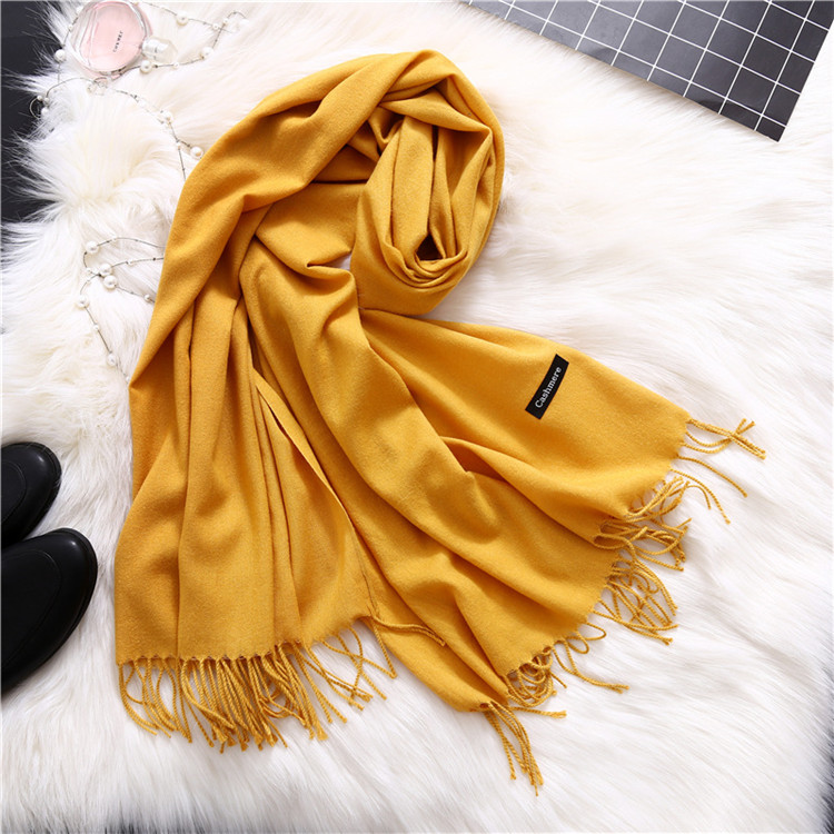 Long Blanket Wholesale Winter Plain Pashmina Shawl Cashmere Scarf With Tassel