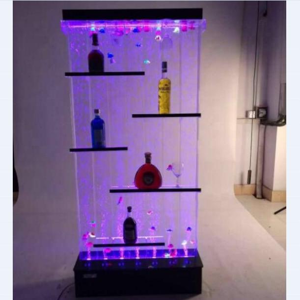 Custom bubble wall design modern wine clear acrylic shelf divider bar cabinet