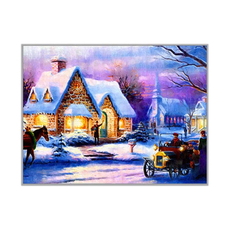 Lukisan Kanvas dengan Angka, Lukisan untuk Dewasa, Malam Tahun Baru Dekorasi Pesta Lukisan Berlian Natal