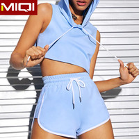 Best Sell Women Two Piece Shirt And Shorts Set Custom Logo Ladies Workout Gym Active Clothes