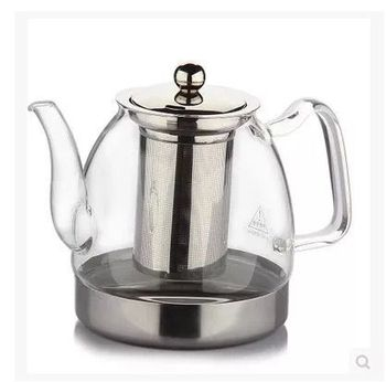 Hot sales borosilicate glass teapot with stainless strainer, Chinese clear Kongfu tea set