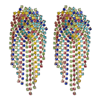 Kaimei big party wedding luxury rainbow crystal statement earrings chandelier rhinestone crystal fringe tassel dangle earrings