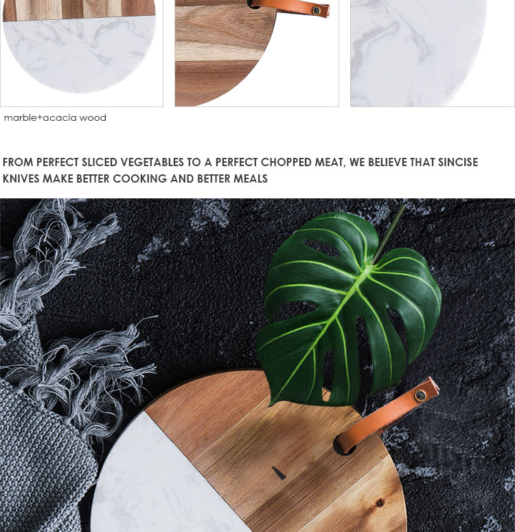 Round Acacia wood and marble combination cutting  board  serving tray with leather strap for hanging