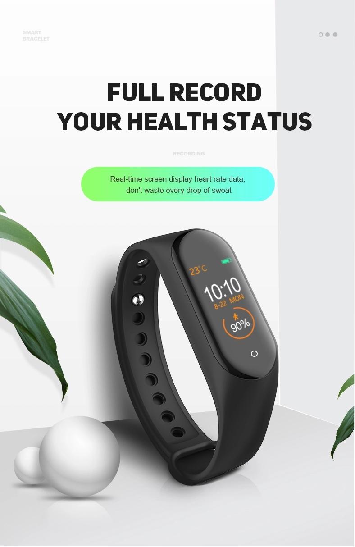 2019 Newest Factory Selling Color display FitnessTracker Blood Pressure Health Sport Smart Bracelet m4 smart band