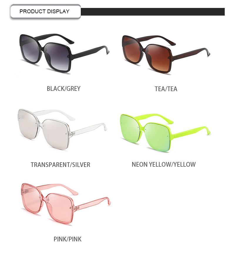 Customized Logo Fashionable  Large Frame Visor Women Square Sunglasses