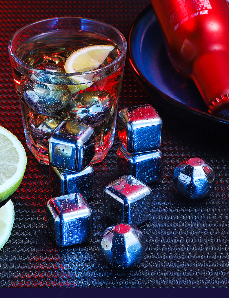 Food Grade 304 Stainless Steel Ice Cube Metal Ice Cube