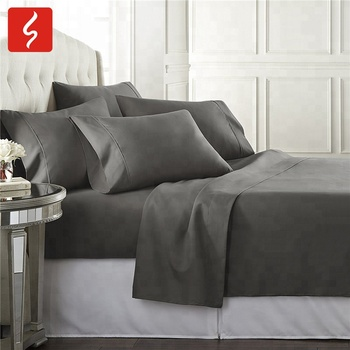 Free shipping polyester Home Hotel textile 4/6Pcs solid colors Bed Sheet Set