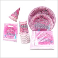 Wholesale Crown Plates, Tableware, Napkins And Cups / Paige Theme Birthday Princess Party Suit