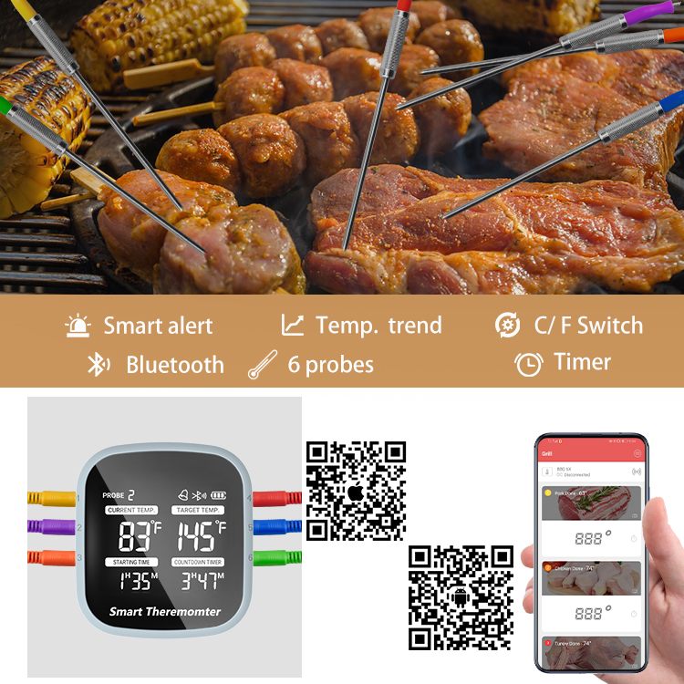 Digital Bluetooth Wireless Meat Thermometer with 6 probes BBQ Thermometer with APP