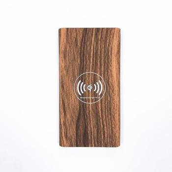 2020 trending Universal QI wireless charger 4000 mAh to 10000 mAh portable wood softouch power bank
