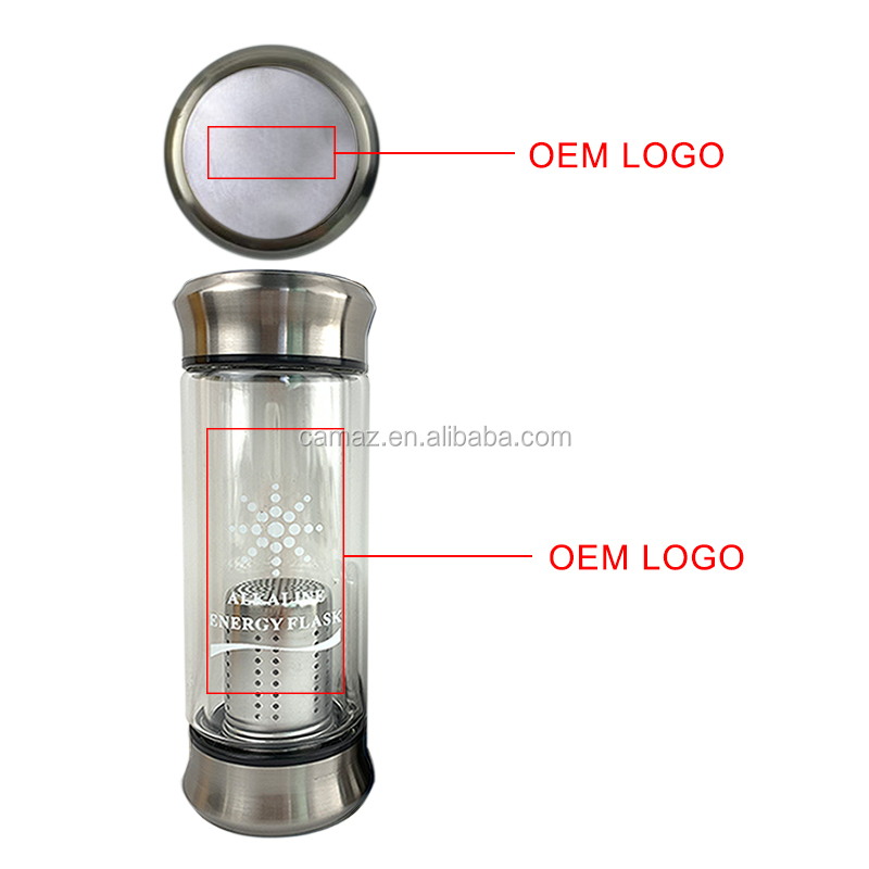 High technology nano glass hydrogen water bottle manufacturer alkaline water bottle pH 8-10. Laser logo .