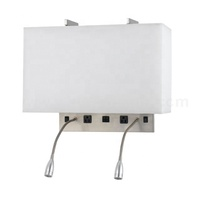 UL CUL Listed Hotel Bedside Wall Lamps With Gooesneck LED Reading Light And Switches W81302
