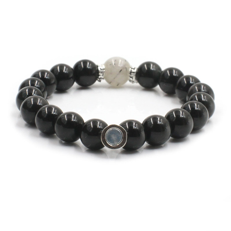 Hematite Black hair crystal <strong>Magnetic</strong> Couple Reiki Gem Stone <strong>Energy</strong> Stone <strong>Bracelet</strong> Distance Customize <strong>Bracelet</strong>