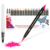 Newly type Customized 24 +2 colors nylon dual tip 20 set philippines art markers watercolor brush pen