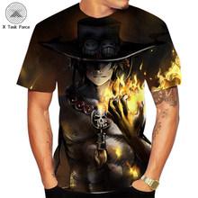 Летняя цельная футболка с 3D принтом, футболка с японским аниме «Луффи братец», мужская Свободная Повседневная футболка, Мужская одежда, фут...(Китай)