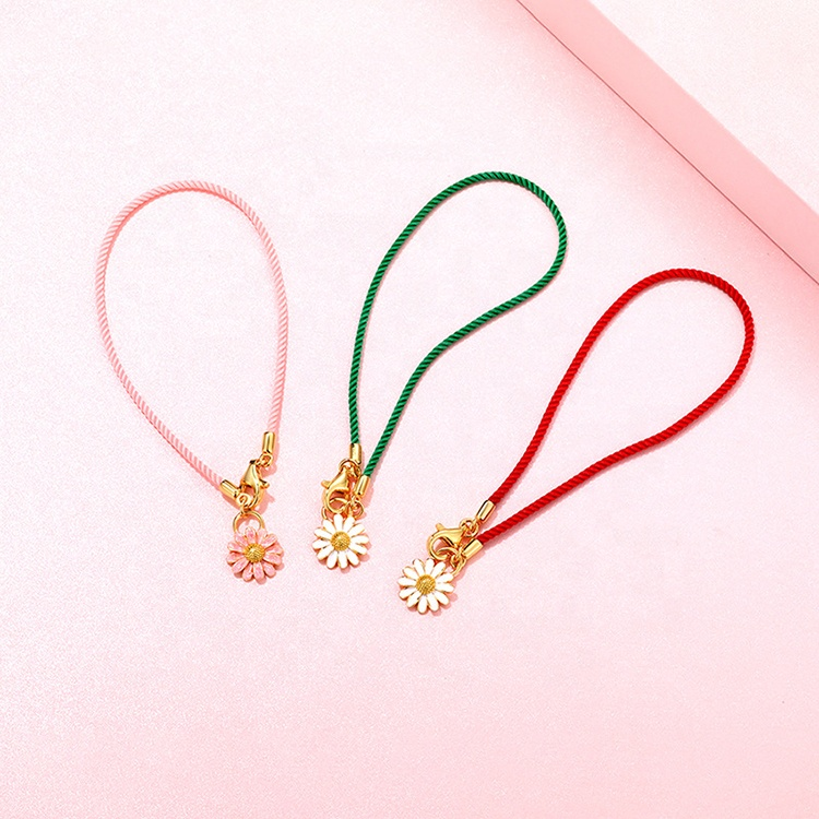 Hot Selling Product 925 Silver Enamel Daisy 18k Gold Plated Cord Bracelet