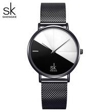 Shengke Relogio Feminino женские часы для девушек кварцевые часы повседневные кожаные женские модельные часы женские часы Montre Femme(China)