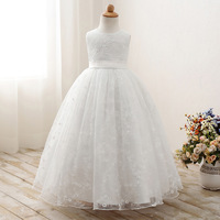 Children Embroidered Flower Long Party Wedding Dress Baby Girls Tulle Princess Dress Teenage Girls Ball Gown Dress