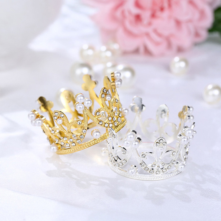 High quality Mini Metal Pearl Gold Crown Happy Birthday Party Decorations <strong>Wedding</strong>&amp;Engagement <strong>Cake</strong> Toppers