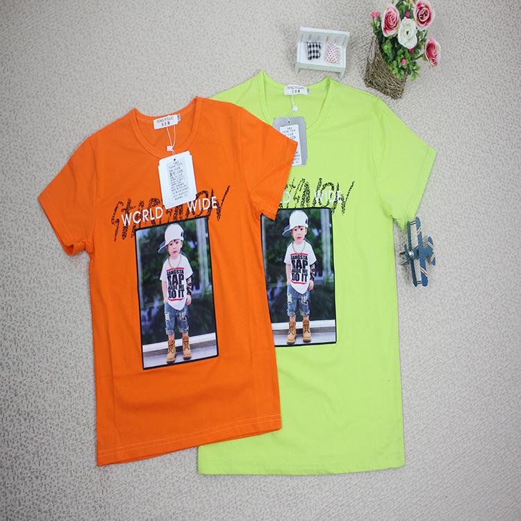 Custom Cheap Wholesale Kids Cartoon Clothes 100% Cotton Casual Popular Kawaii Boys Girls T-shirt Plain Soild Clothing