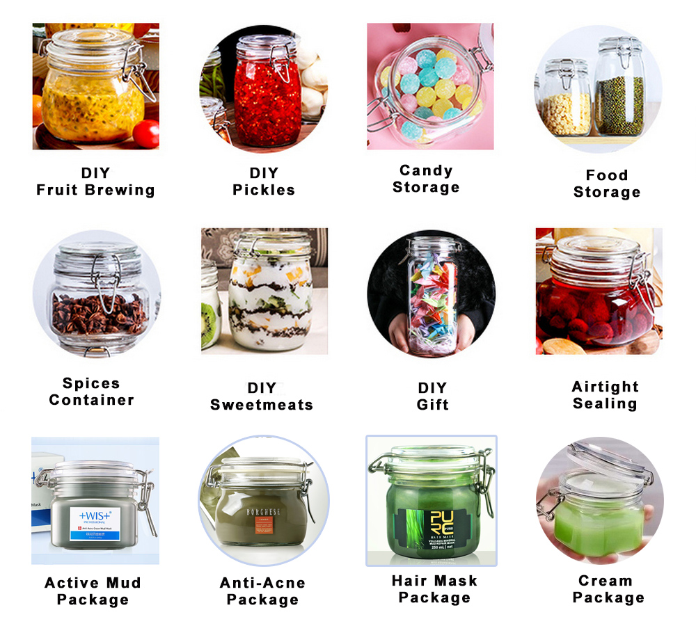 3-Pieces  1150ml Wide Mouth Mason Jars - PET Jars with Hinged Lids - Canning Jars Perfect for Storing Coffee, Sugar, Flour.