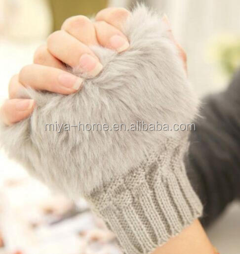 Fashion knitted gloves with fur-like winter women's thermal Mittens