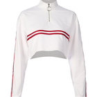 Latest Design Women Half Zip Placket Crop White Top Hoodie Sweatshirt