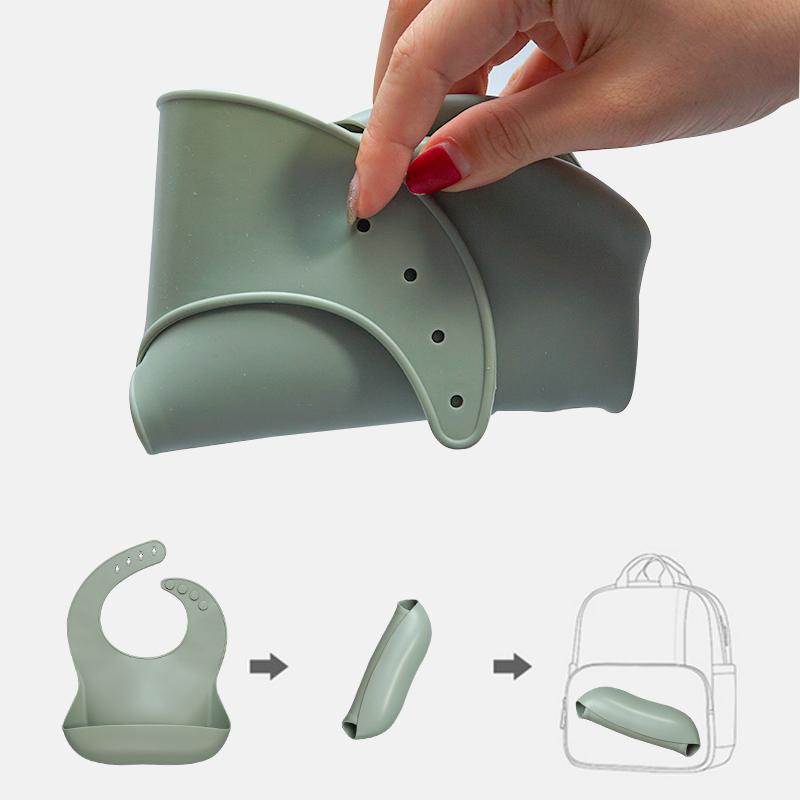 Modern BPA Free Silicone Bucket Bib Wholesale Waterproof Silicone Bib for Babies