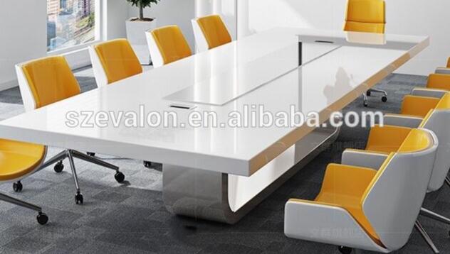 Fabrika tedarikçisi iyi şöhret yüksek parlak popüler Modern tasarım corian taş toplantı odası konferans masası