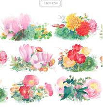 Цветочная лента роза/Гортензия/Лаванда/вишневая пуля дневник Васи ленты японская Клейкая Лента Скрапбукинг Декоративные наклейки(Китай)