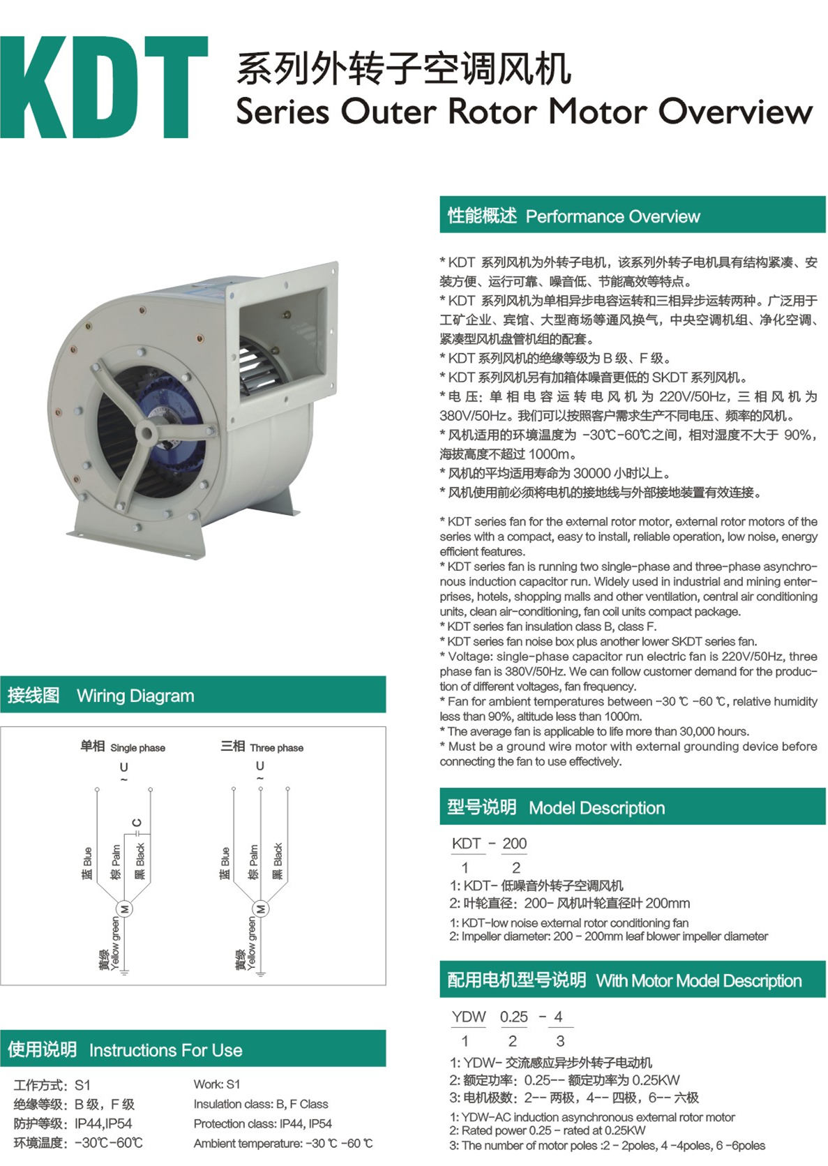 KDT SERIES EXTERNAL ROTOR AIR CONDITIONAL FAN