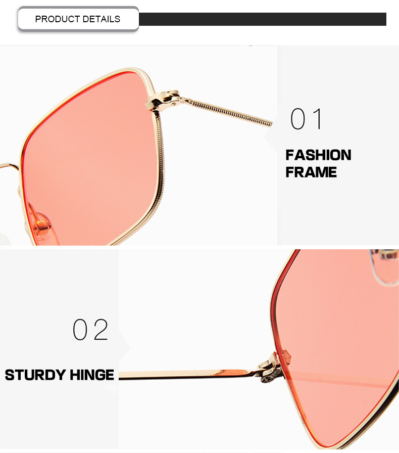 Promotional Colorful Custom Logo Metal Small Frame Rectangle Women Men Sunglasses