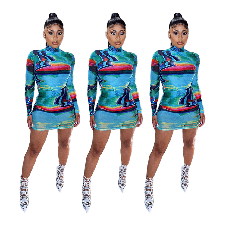 Latest Design Long Sleeve Fashion Positioning Print Women Girls' Sexy Clothes Bodycon Lady Elegant Autumn Casual Dress
