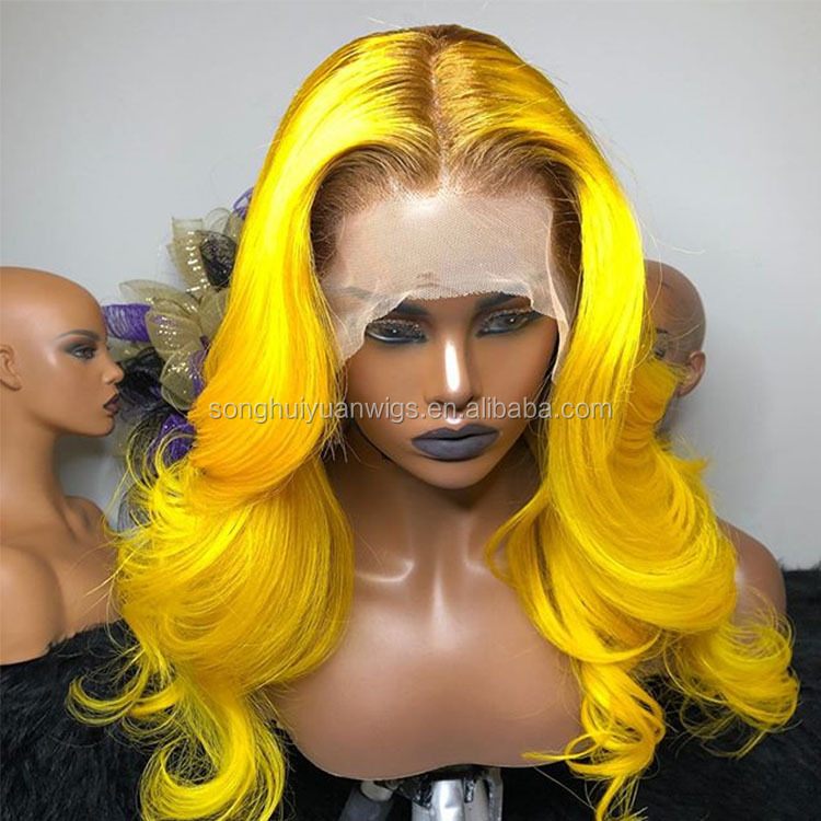 Prepluck Hairline Yellow Loose Wave Ombre Roots 100 Shy Blonde Human Wig Black Women Glueless Cap With Combs