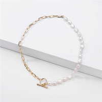 European and American big famous brand jewelry fashion accessories half chain half fresh water pearl beads short chain necklace