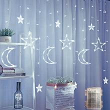 Светодиодный светильник со звездами, светодиодный светильник с Луной, звездой, занавеской, 3,5 м, для комнаты, сказочный светильник, на Рождес...(Китай)