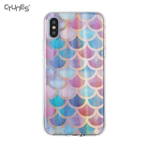 Custom Design Fish Scale Pattern Electroplating Laser IMD Soft TPU Mobile  Phone Case Back Cover For iPhone X
