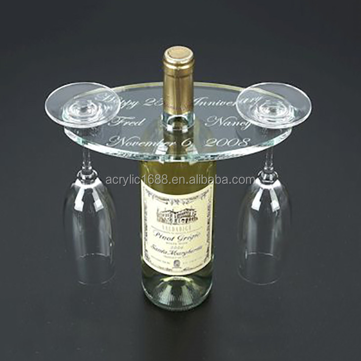 Oval clear acrylic two wine glass holder