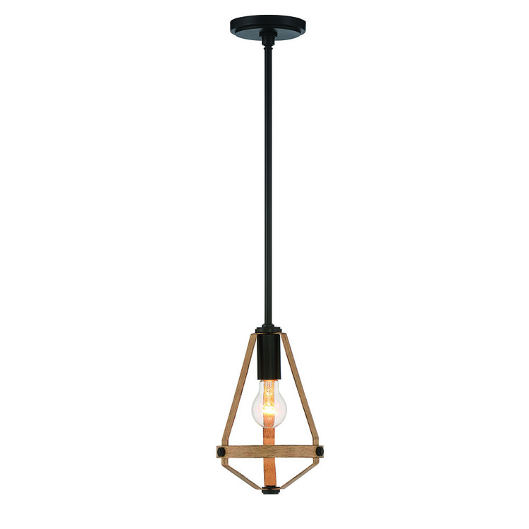 Mini Pendant Ceiling 1 Light Farmhouse Style Wood Finish Dining Room Coffee Shop Lamp With Low Price