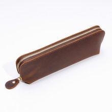 Школьный чехол-карандаш из натуральной кожи, корейский картридж, пенал Crazy Horse Pen Box, винтажный детский чехол-карандаш, канцелярские принадле...(Китай)
