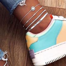 Женский многослойный ножной браслет с бусинами, 17 км, многослойный ножной браслет серебряного цвета с камнями в форме звезды, пляжный ювели...(Китай)