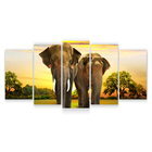 Pictures Home Decoration Living Room HD Printing Modular Pictures Animals 4 Modules Elephant Canvas Wall Art
