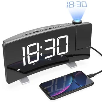 Digital Night LED Light USA Projection Alarm Clock With Wireless Phone Charger