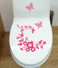 ZLinKJ бабочка цветок наклейки на стену для ванной комнаты украшение дома Наклейки на стены для наклейки для унитаза обои стикеры для дома deocr(Китай)