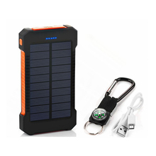 Solar Power Bank Dual USB Power Bank 20000mAh Wasserdichte Batterie Ladegerät Externe Tragbare Solar Panel mit LED Licht
