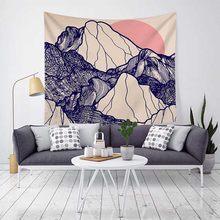 Настенный подвесной гобелен с принтом волн/гор/рек, пляжный коврик/ковер с рисунком, покрывало(Китай)